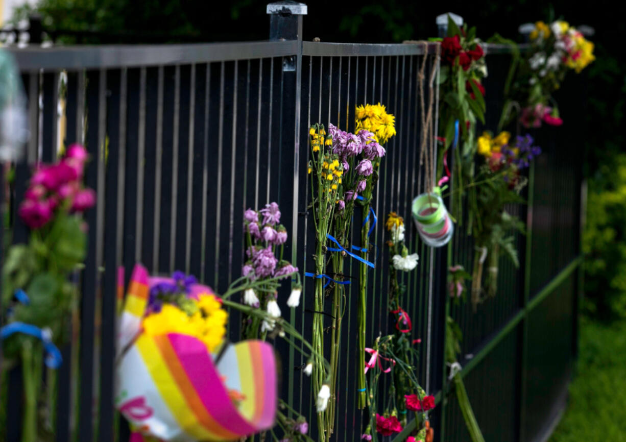 A makeshift memorial for victims of the Champlain Towers South condo collapse at a dog park in Surfside, Florida on Tuesday, June 29, 2021. The condominium partially collapsed Thursday, June 24.