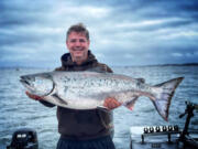 The Chinook being caught in this year's Buoy 10 fishery have been running larger than in recent years. This heavy Chinook was taken recently in guide Matt Eleazer's boat.