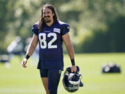 Seattle Seahawks tight end Luke Willson, pictured at training camp in 2020, has re-signed with the team to help add depth.. (AP Photo/Ted S.
