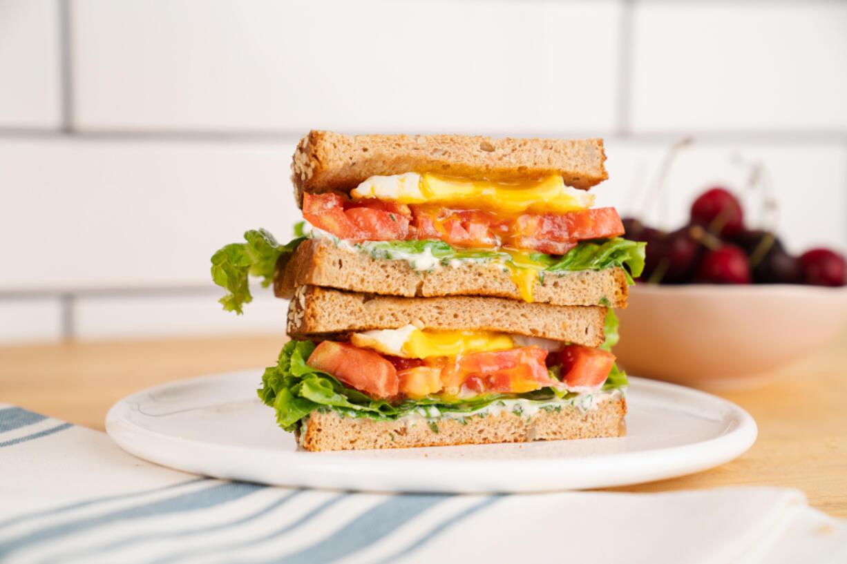 ELT sandwiches with basil mayonnaise.
