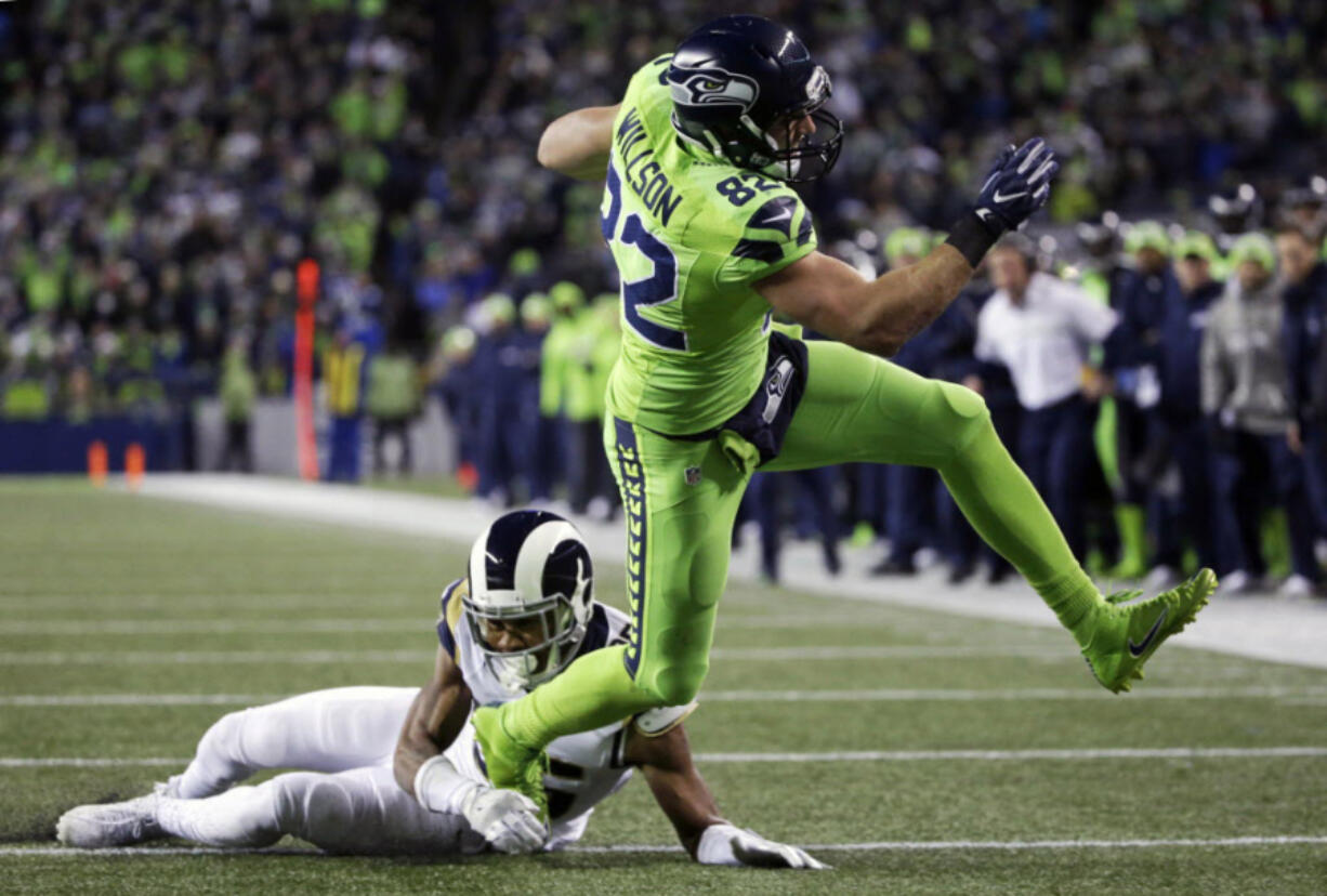Seattle Seahawks tight end Luke Willson (82) announced Wednesday, Aug. 25, 2021, that he is retiring from the NFL. It comes just a day after he re-signed with the team.