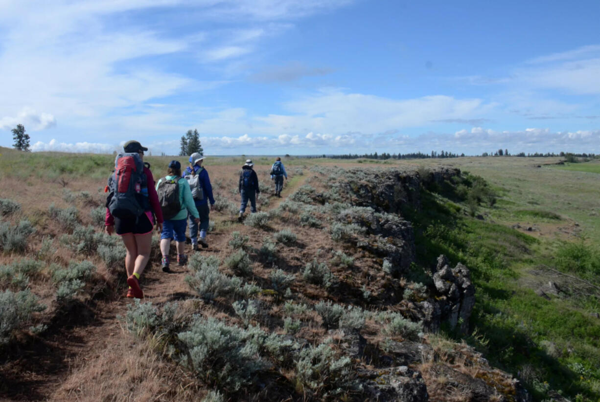 Volunteers who helped build trails over three years at the U.S. Bureau of Land Management's Fishtrap Lake Recreation Area, southwest of Spokane, enjoy the fruits of their labor while hiking the north loop in May 2019.