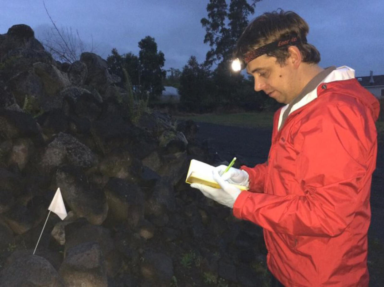 Rory Mc Donnell conducting research on slug attractants.