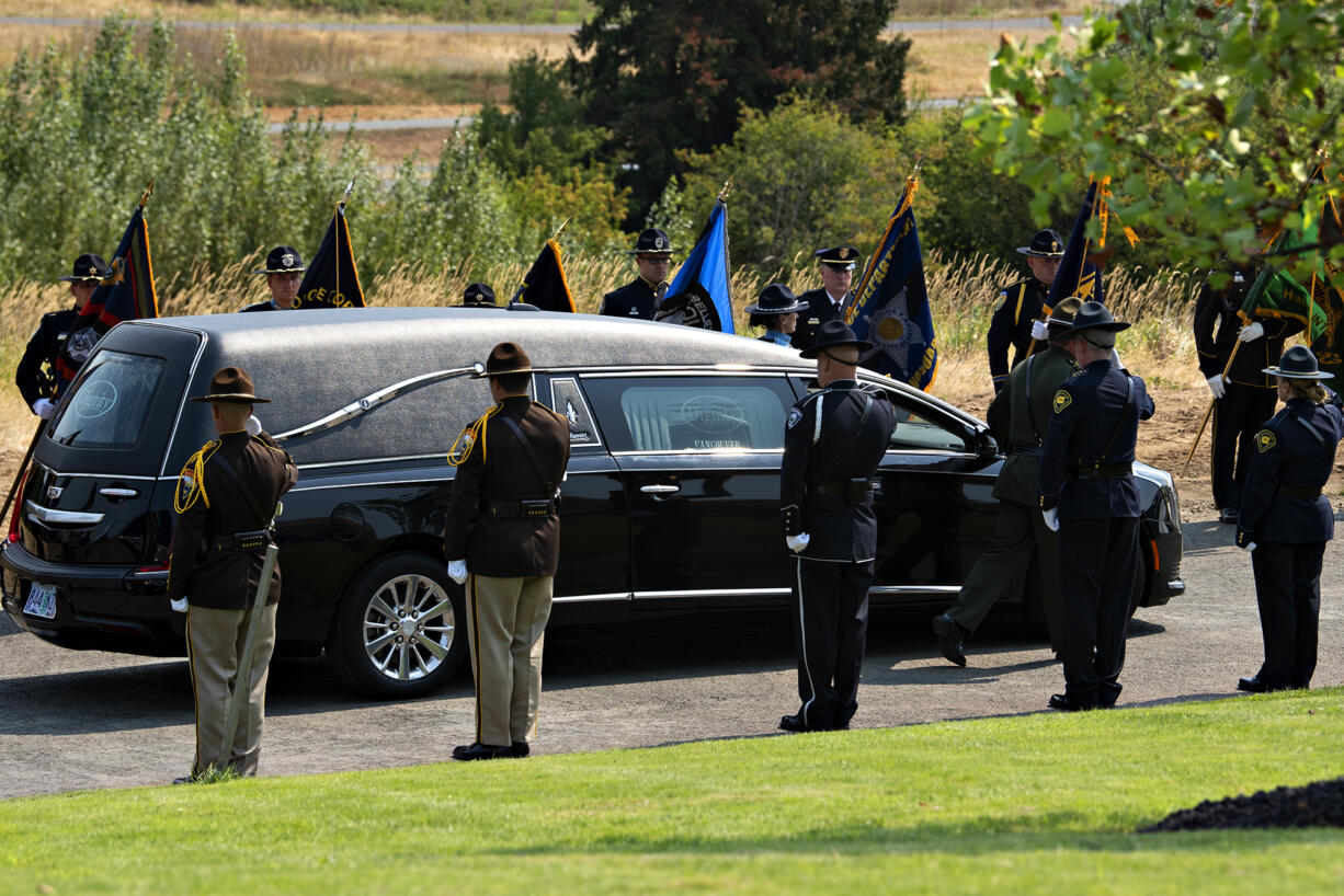 The body of Sgt. Jeremy Brown arrives at ilani casino as a multi-agency honor guard pays tribute Tuesday morning, Aug. 3, 2021.