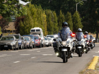 Funeral procession for slain Clark County Sheriff detective