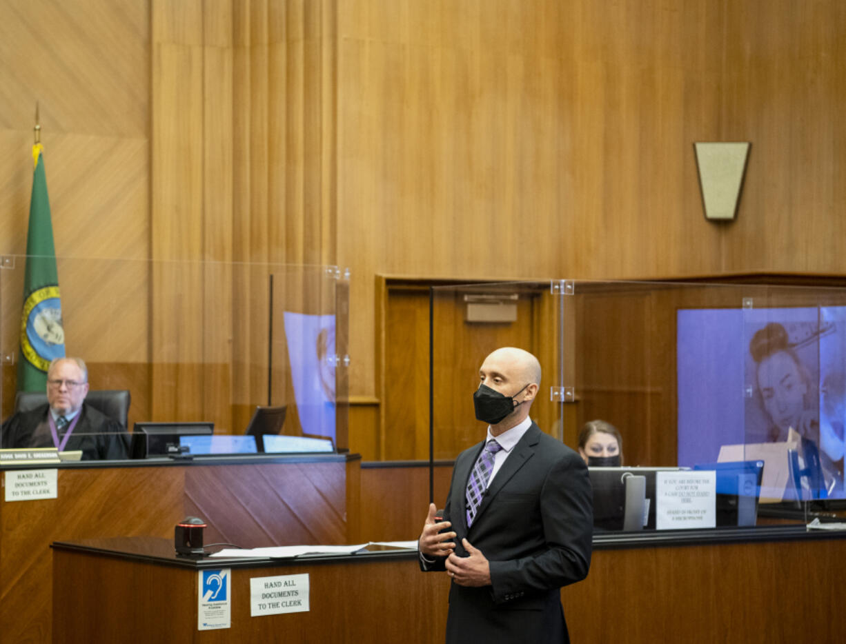Senior Deputy Prosecutor Colin Hayes gives an opening statement to the jury at the murder trial of David Bogdanov on Tuesday morning at the Clark County Courthouse. Bogdanov is accused of strangling 17-year-old Nikki Kuhnhausen, a transgender teen.