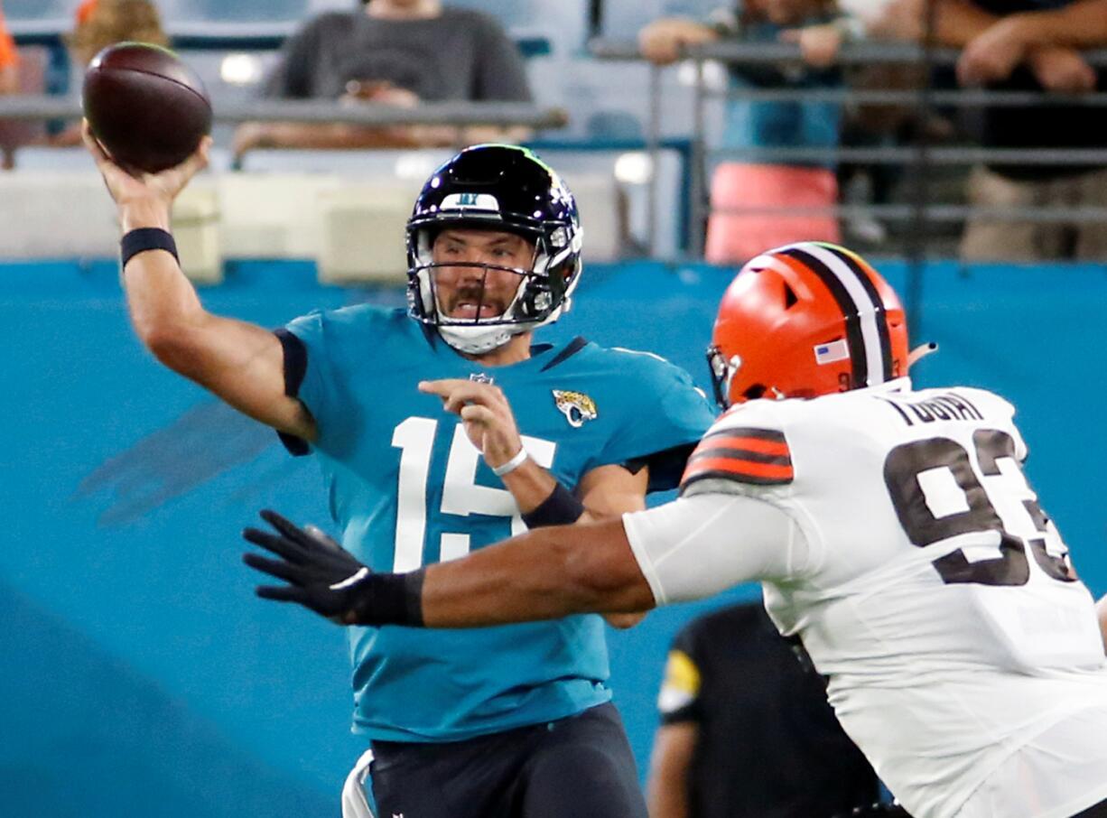 The Jacksonville Jaguars traded backup quarterback Gardner Minshew (15) to Philadelphia on Saturday, Aug. 28, 2021, for a conditional draft pick in 2022. (AP Photo/Stephen B.