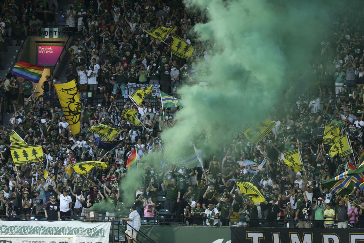 The Portland Timbers face the Seattle Sounders in an MLS match at Providence Park on Sunday, Aug. 15, 2021.