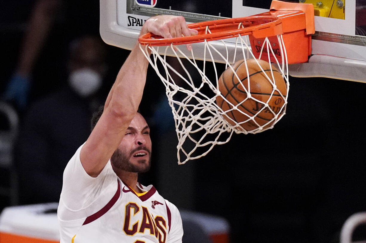 Forward Larry Nance Jr. is coming to the Portland Trail Blazers as part of a three-way trade. The Cavaliers have agreed to acquire restricted free agent forward Lauri Markkanen from Chicago that will also send Nance Jr. from Cleveland to Portland, a person familiar with the deal told the Associated Press on Friday, Aug. 27, 2021. (AP Photo/Mark J.