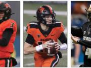 Oregon State's trio of quarterback options for 2021 include Tristan Gebbia, left, Chance Nolan, and Colorado transfer Sam Noyer.