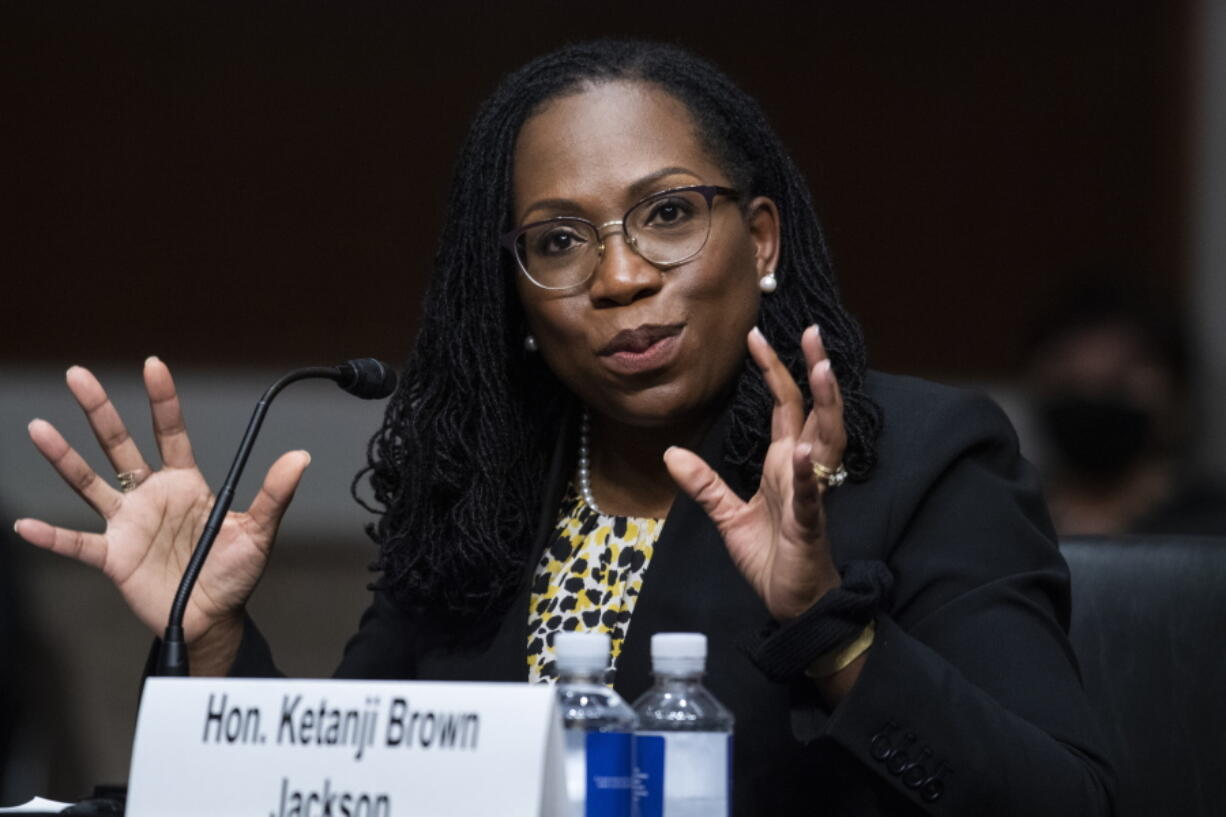 FILE - In this Wednesday, April 28, 2021, file photo, Ketanji Brown Jackson, nominated to be a U.S. Circuit Judge for the District of Columbia Circuit, testifies before a Senate Judiciary Committee hearing on pending judicial nominations, on Capitol Hill in Washington. With no Supreme Court opening to slow them, President Joe Biden and Senate Democrats are putting judges on federal trial and appellate courts at a much faster clip than any of Biden's recent predecessors. Eight judges already have been confirmed, including potential Supreme Court pick Brown Jackson to the federal appeals court in Washington.