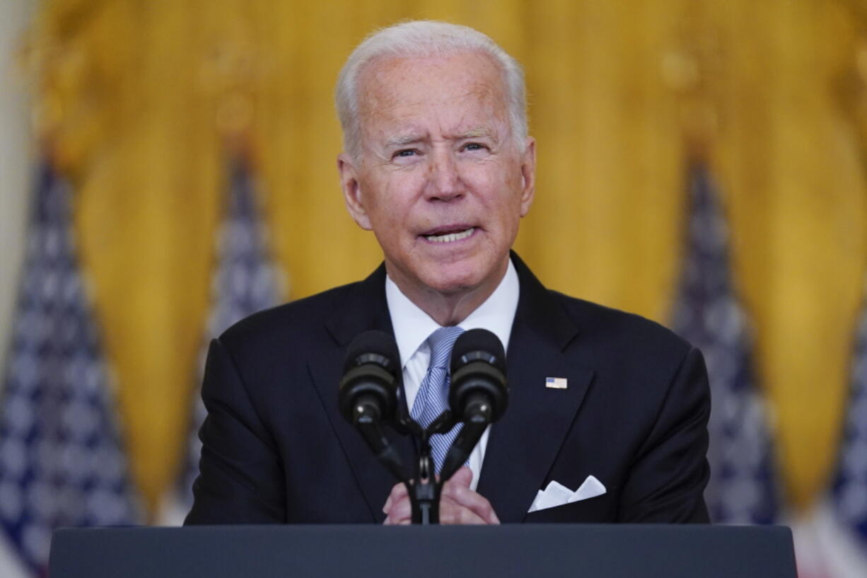 President Joe Biden speaks about Afghanistan from the East Room of the White House, Monday, Aug. 16, 2021, in Washington.
