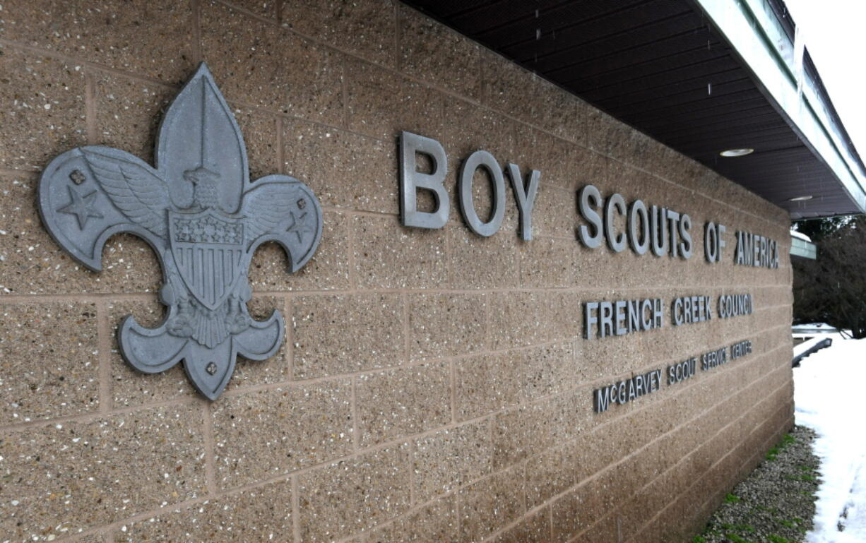 FILE - This Feb. 18, 2020, file photo shows the headquarters for the French Creek Council of the Boy Scouts of America in Summit Township in Erie County, Pa.  Attorneys recently reached a tentative agreement that could help pave the way for the Boy Scouts of America to exit bankruptcy.  A Delaware judge has set a Thursday, Aug. 12, 2021 hearing on a proposed $850 million agreement between the Boy Scouts and attorneys representing about 70,000 child sex abuse claimants.