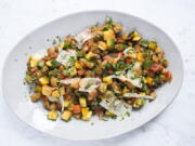 A recipe for Spanish ratatouille, a combination of saut?ed summer vegetables with shaved curls of manchego cheese.