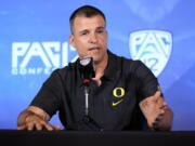 Oregon head coach Mario Cristobal answers questions during the Pac-12 Conference NCAA college football Media Day Tuesday, July 27, 2021, in Los Angeles.