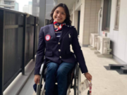 Yen Hoang, a 2015 Evergreen High grad, before the Opening Ceremonies of the Paralympic Games in Tokyo. Sunday, Hoang placed eighth in the finals of the 800 meter wheelchair race.