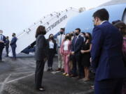 U.S. Vice President Kamala Harris departs Singapore for Vietnam, Tuesday, Aug. 24, 2021.