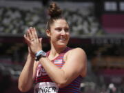 Kara Winger, of United States, competes in qualifications for the women's javelin throw at the 2020 Summer.