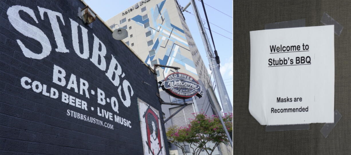 This combination of photos shows signage for Stubb's BBQ and Amphitheater appears outside the establishment in Austin, Texas, on Aug. 21, 2021, left, and a sign requesting customers wear masks is displayed near the entrance. The music industry is moving toward vaccine mandates for concertgoers, but local and state laws have created murky legal waters for COVID-19 rules in venues. Texas state law says businesses can't require customers to show proof of a COVID-19 vaccination.