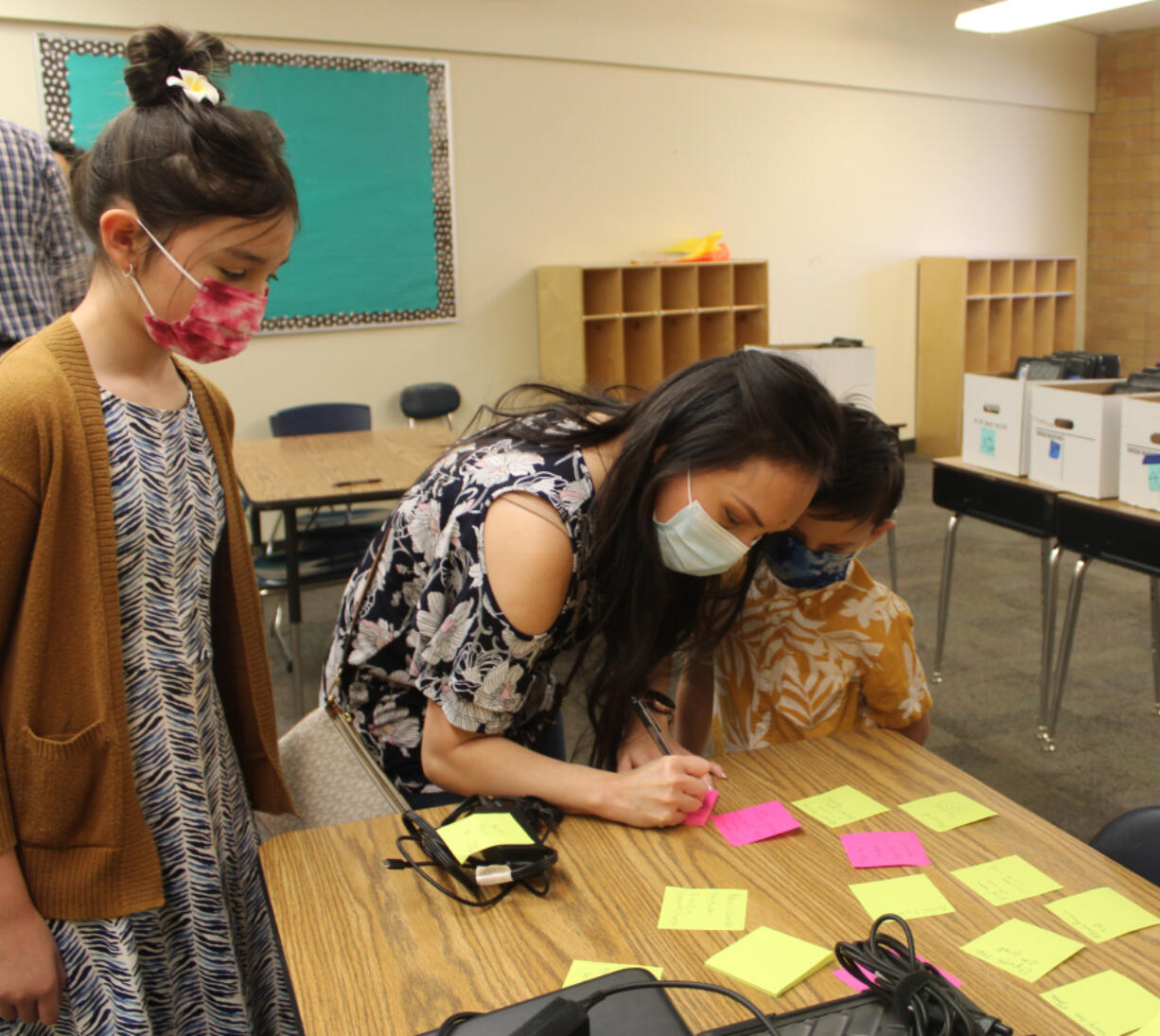 Fernanda Titcomb, center, attends a back-to-school event for Camas Connect Academy on Aug. 24 with her children, Anela, left, and Santiago. Titcomb said safety concerns related to the COVID-19 pandemic prompted her family to enroll in the district's remote school.