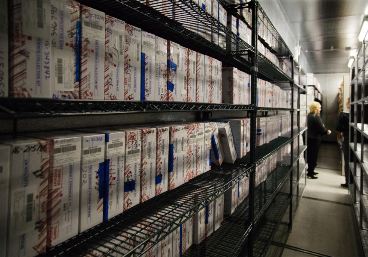 Hundreds of untested rape kits are stored in 2018 at the Seattle Police Department's evidence warehouse.