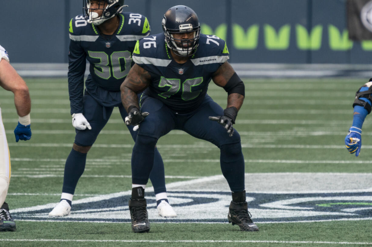 Seattle Seahawks offensive lineman Duane Brown is pictured during the first half of an NFL football game against the Lost Angeles Rams, Sunday, Dec. 27, 2020, in Seattle. The Seahawks won 20-9.