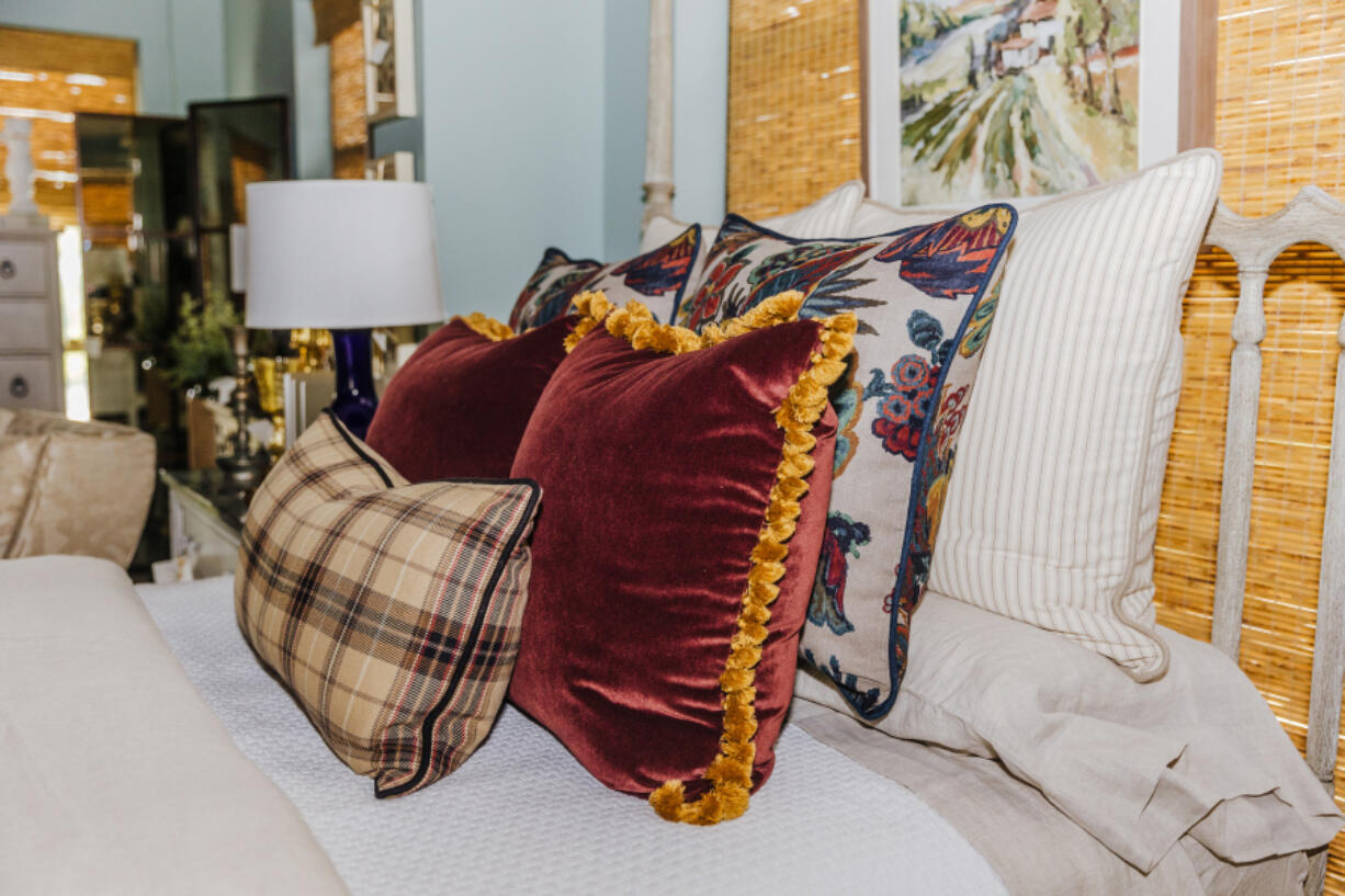We have been using a plethora of rich fabrics to add luxury to our spaces with velvets, floral prints, and lots of fabulous trim to bring a new elegance to our displays.