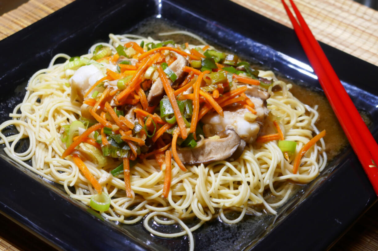 Cod Chinois over Chinese Noodles.