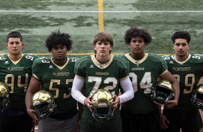 From left, junior Carlos Churape, sophomore Steve Canda III, sophomore Fox Crader, junior Koby Kast and senior David Kailea pose for a portrait at a practice on Wednesday, Sept. 15, 2021, at McKenzie Stadium.