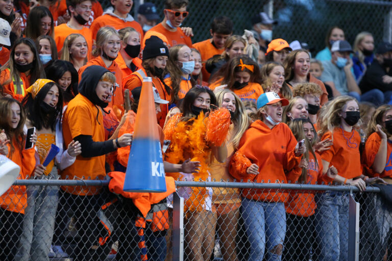 Ridgefield Spudders fans as Hockinson Hawks play against the Spudders in the 2A Greater St. Helens League season opener for both teams at Hockinson High School on Friday, Sept. 17, 2021. (Randy L.