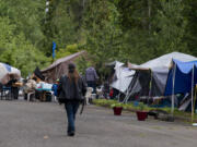"""A homeless encampment is pictured in northeast Vancouver. The city is taking steps toward establishing """"supportive campsites"""" providing sanitation and other services."""