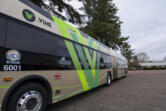 A 60-foot Vine bus pictured November 24, 2020, at the C-Tran maintenance center in Vancouver.