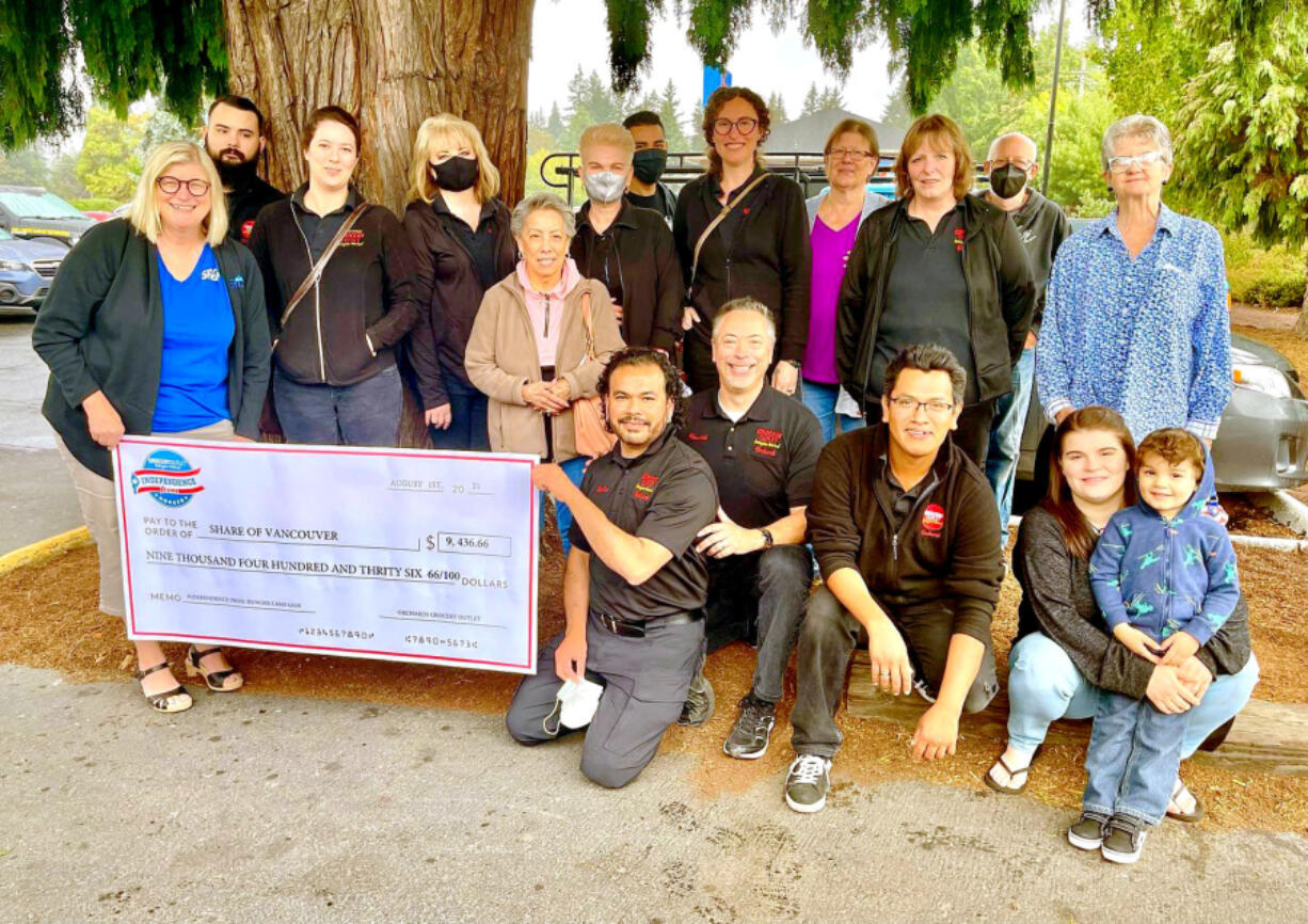 Share Vancouver recently benefitted from a nearly $9,500 donation from Orchards Grocery Outlet benefitting the nonprofit's kids backpack food program.