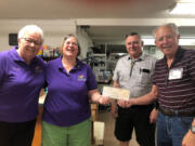 The Battle Ground Lodge #2589 recently received a $2,000 Gratitude Grant from the Elks National Foundation. The grant will allow the service group to partner with Battle Ground Adventist Community Services' Diaper Bank. Pictured from left: Darlene Daley, Lomoar Majorowicz, Jim Daley and Maury Parrish.