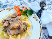 Beef, onions, sour cream and a pound of mushrooms make this beef stroganoff a rich autumn repast.