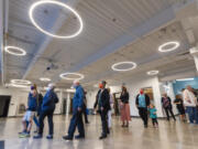 People walk through the common area of Vancouver Public Schools' new Jim Tangeman Center on Wednesday. The building, which serves around 50 students with special needs from kindergarten through 12th grade, opened on Aug. 31.