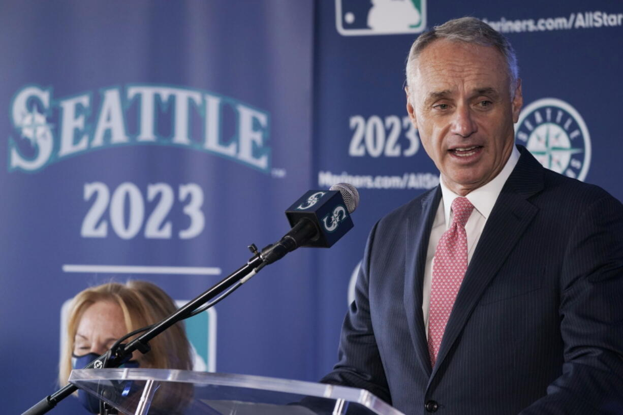 Baseball Commissioner Rob Manfred speaks during a news conference Thursday, Sept. 16, 2021, at the Space Needle in Seattle. Manfred announced that the Seattle Mariners will host the 2023 All-Star Game at T-Mobile Park. (AP Photo/Ted S.