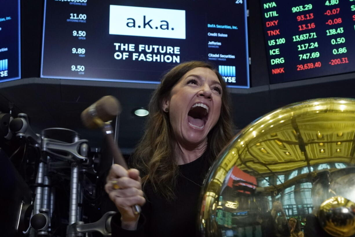 A.k.a Brands CEO Jill Ramsey rings the ceremonial first trade bell as her company's stock begins trading, on the floor of the New York Stock Exchange, Wednesday, Sept. 22, 2021.