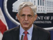 Attorney General Merrick Garland announces a lawsuit to block the enforcement of a new Texas law that bans most abortions, at the Justice Department in Washington, Thursday, Sept. 9, 2021. (AP Photo/J.