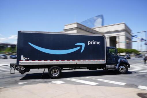 An Amazon truck is seen in Philadelphia in April.