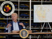 President Joe Biden speaks during a visit to the National Interagency Fire Center, Monday, Sept. 13, 2021, in Boise, Idaho.
