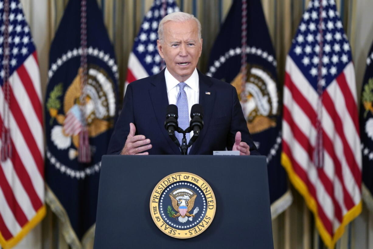 President Joe Biden speaks about the COVID-19 response and vaccinations in the State Dining Room of the White House, Friday, Sept. 24, 2021, in Washington.