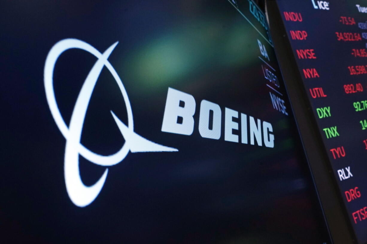 FILE - The logo for Boeing appears on a screen above a trading post on the floor of the New York Stock Exchange, Tuesday, July 13, 2021. Despite the pandemic's damage to air travel, Boeing says it's optimistic about long-term demand for airplanes. Boeing said Tuesday, Sept. 14, 2021 that it expects the aerospace market to be worth $9 trillion over the next decade. That includes planes for airlines and military uses and other aerospace products and services.