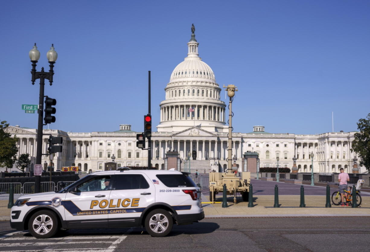 A video surveillance apparatus is seen on the East Front of the Capitol in Washington on Friday as security officials prepare for a Sept. 18 demonstration by supporters of the people arrested in the Jan. 6 riot. (J.