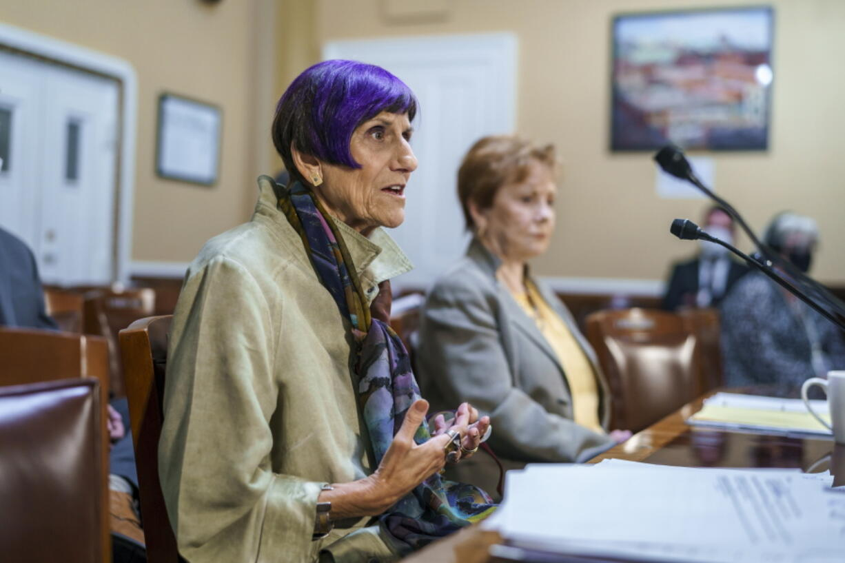 House Appropriations Committee Chair Rosa DeLauro, D-Conn., left, joined by Rep. Kay Granger, R-Texas, appear before the House Rules Committee as they field questions about raising the debt limit, at the Capitol in Washington, Tuesday, Sept. 21, 2021. (AP Photo/J.