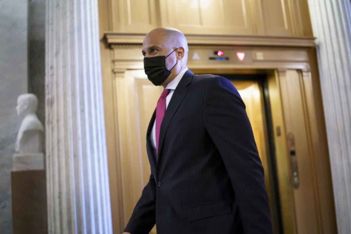 Sen. Cory Booker, D-N.J., arrives at the Senate chamber at the Capitol in Washington, Wednesday, Sept. 22, 2021, after bipartisan congressional talks on overhauling policing practices ended without an agreement. (AP Photo/J.