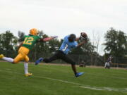 Hockinson's Kenyon Johnson pulls in a touchdown reception  in the Hawks' 24-21 loss to Lynden on Friday, Sept.