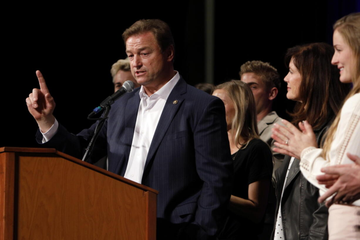FILE - In this Nov. 6, 2018, file photo, Sen. Dean Heller, R-Nev., makes his concession speech during the NVGOP Election Night Watch Party in Las Vegas. Heller plans to announce a bid for governor of Nevada on Monday, Sept. 20, 2021, joining a crowded field of Republican hopefuls vying for a chance to unseat Democratic Gov. Steve Sisolak in 2022.
