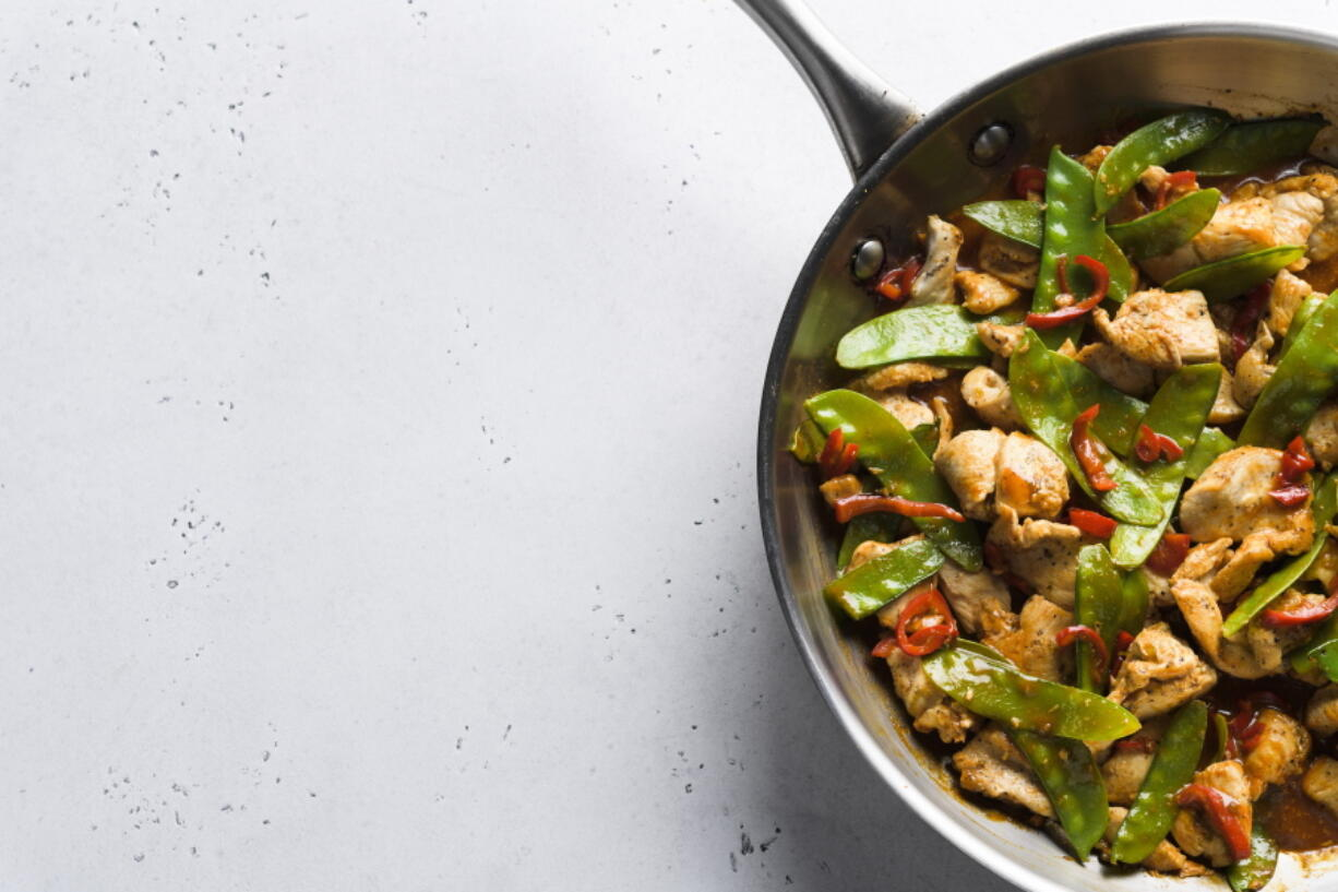 Stir-fried Chicken and Snow Peas. This recipe, with just six ingredients, was inspired by the popular Malaysian dish ayam paprik.