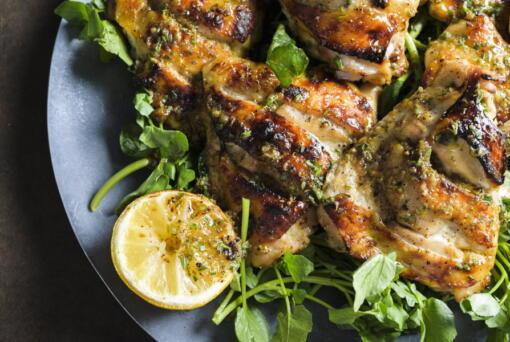 Chicken Salmoriglio made with grated lemon zest, garlic, oregano, salt and pepper.